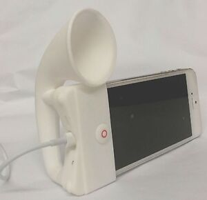 WHITE Portable Silicone Horn Amplifier Loud Speaker Desk Stand Apple iPhone 5 5S