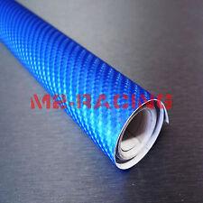 2'x5' Feet 4D Gloss Sky Blue Carbon Fiber Sticker Decal Car Vinyl Wrap Glossy