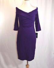 Lauren Ralph Plum Off The Shoulder Crisscross Front Dress Size 8 #G3 MSRP $169