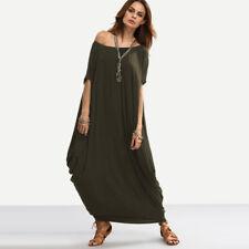 UK STOCK Women's Loose Short Sleeve Summer Bating Kaftan Tunic Long Maxi Dresses