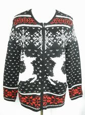 J Jill Reindeer Snowflake Fair Isle Nordic Cardigan Sweater Wool Blend S Small