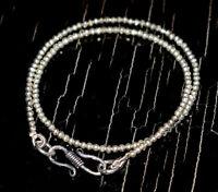 "925 Sterling Silver 17"" Strand Necklace Silver Pyrite Gemstone Round Beads UJ874"