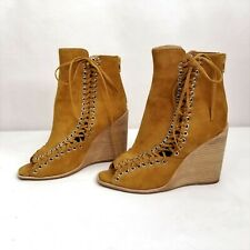 Jeffrey Campbell Brown Suede Booties 7.5 Ankle Boots Wedge Heels Lace Up Sides
