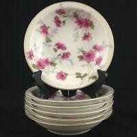 Set of 6 VTG Berry Bowls by NS Nagoya Shokai Mountain Pink Ivory China Japan