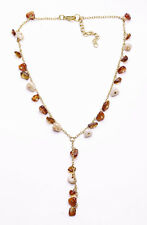 CHARMING GOLD TONE CHAIN NECKLACE SHINY BEIGE/BROWN 'AMBER' BEAD CHARMS (ZX36)