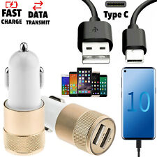 Genuine Dual Port Fast Car Charger + Samsung Galaxy S10 S9+ USB C Charging Cable