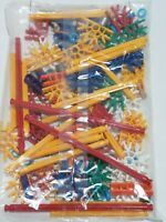 97 NEW K'NEX Rods & Connectors Mixed Lot Blue Red Yellow, Purple, Tan Clips KNEX