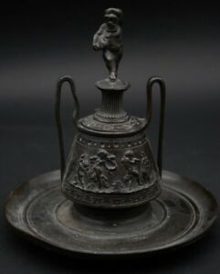 Antique Bronze Inkwell In The Form Of A Grecian Urn