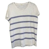 J CREW Women's Size Medium Top Striped Short Sleeve Blue & White Tunic