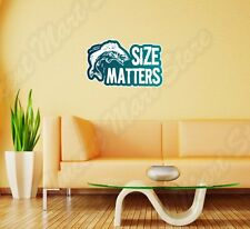 "Size Matters Fishing Fishermen Fish Wall Sticker Room Interior Decor 25""X16"""