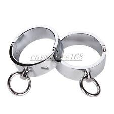 Steel Wrist Ankle Cuffs Handcuffs Magnetic Locking Pin Restraint Slave Bondage