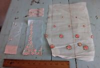4 Hand Sewn/Hand Loomed Doll Scale Vintage Rose Embroideries On Batiste Fabric
