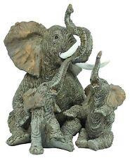 Dekofigur Elefant mit 2 Kindern Dickhäuter Elefanten Dekoration Glückselefant Ti