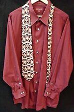 Men's Covington Dress Shirt, Rustic Maroon & Tie Size 18-18.5, 2XL, Front Pocket