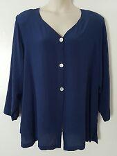 Roamans Navy Blue Long Sleeve 100% Silk Button Top Blouse Plus Size 4X