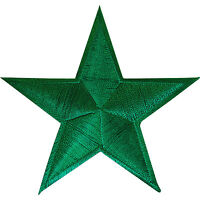 Green Star Iron On Embroidered Patch Sew On Badge Bag Clothes Crafts Applique