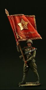 Tin soldier, Collectible, Sergeant Major of Red Army with Standard 54 mm, WWII