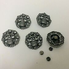 "Pkg of 5 Round SKULLS Metal Rivet Studs 1-1/8"" 28mm Leather Crafts (1068) Concho"