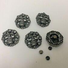 "Pkg of 5 Round Skulls Metal Rivet Studs 1-1/8"" 28mm Leather Crafts (1068) Concho"
