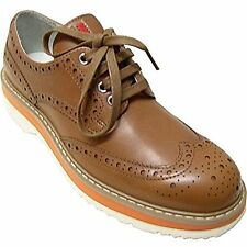 Prada Women's Brown Leather Wing Tip Oxford Lace Up Shoes Size 40 10