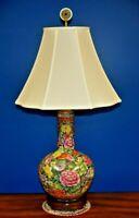 "32""  VINTAGE CHINESE PORCELAIN VASE TABLE LAMP-MILLE FLEURS/1000 FLOWER-ORIENTAL"
