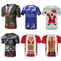 Mens Womens Christmas Unisex Printing Tees Shirt Short Sleeve T Shirt Blouse