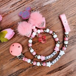 Set of two Personalised dummy clip and a Pram charm baby pink