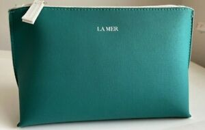 La Mer Logo Aqua emerald green Cosmetic Makeup Bag pouch New Zip Top new