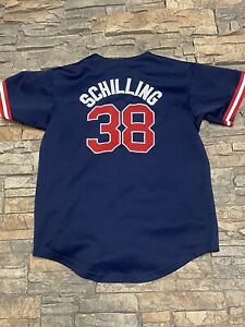 Majestic Curt Schilling Boston Red Sox Jersey Embroidered Med/Lge Blue Kids