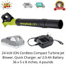 24-Volt iON Cordless Compact Turbine Jet Blower,Quick Charger, w/ 2.0-Ah Battery