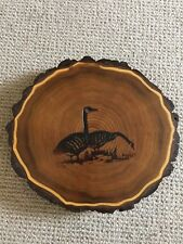 "Handcrafted Boards by Joel 11"" round butternut lazy Susan LOON design VGC Geese"