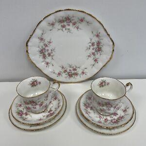 Paragon Victoriana Rose 2 Tea Trios & Cake Plate Vintage Floral China Gold Trim