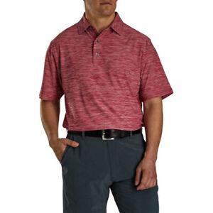 New Men's FootJoy Space Dye Lisle Polo Shirt - Crimson - XXL