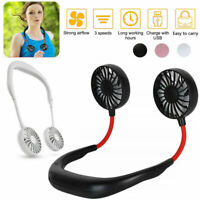 Portable USB Rechargeable Neckband Dual Cooling Mini Fan Lazy Neck Hanging CA b5