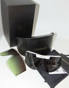 Versace VE4393 401/87 White Gray /Green gradient Shield Wrap Sunglasses VE4393