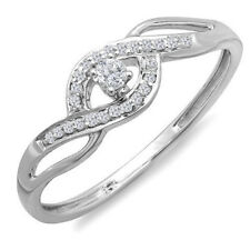 AGS CERTIFIED 0.15 CT 10K White Gold Round Diamond Ladies Engagement Ring