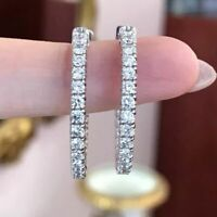 1.50Ct Round Cut VVS1 Diamond Earrings Huggie Hoop Earrings 925 Sterling Silver
