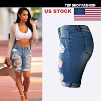US Summer HOT Women Ripped High Waist Short Pants  Jeans Slim Casual Trousers GW