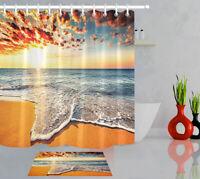 Sunset Sea Wave Beach Shower Curtain Sets Bathroom Waterproof Fabric & 12hooks