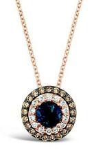Le Vian ® Colgante-Topacio Azul, Vainilla/chocolate diamantes ® - 14K Oro Rosa ®