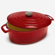 New listing BrylaneHome 6-Lt. Cast Iron Enameled Oval Casserole, Red