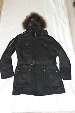 The Kooples Black Raccoon Fur Hooded Zip / Belt Jacket Parka Coat Size Medium M