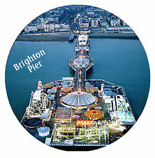 BRIGHTON PIER -  ROUND SOUVENIR NOVELTY FRIDGE MAGNET - NEW / SIGHTS / GIFTS