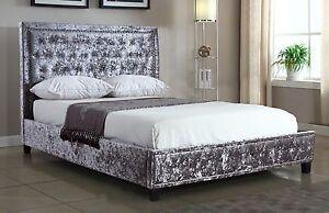 SILVER CRUSHED VELVET UPHOLSTERED DESIGNER BED FRAME WITH MATTRESS OPTIONS