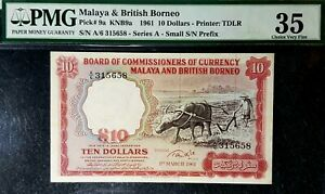 PMG 35 VF 1961 MALAYA & BRITISH BORNEO 10 Dollars B/Note(+FREE1 B/note)#17104