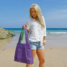 Boulevard Navona Large Leather Handbag/Shoulder bag. Purple/Lime