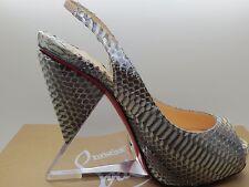 $1195 Christian Louboutin Rosemin Ayers Snakeskin Wedge Platform Sandals 35.5