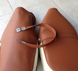 C70 PASSPORT 70 1980&1981 Brown Seat Cover with strap. Painted Logo(142)