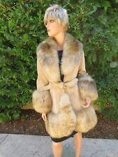 Leather/Suede Coat Jacket Fur Trim Mod Size 6/8 1970's Vintage BOHO England