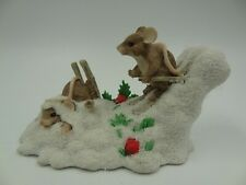 """Charming Tails Dean Griff """"Hot Doggin"""" Skiing Mice Figurine Signed 1995"""